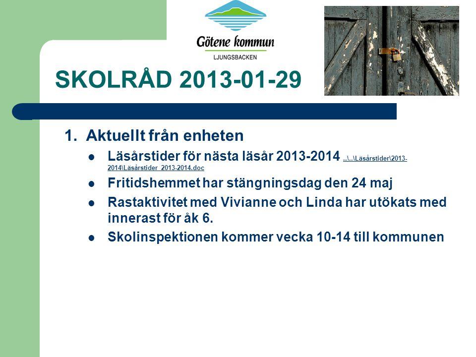 SKOLRÅD 2013-01-29 1. Aktuellt från enheten Läsårstider för nästa läsår 2013-2014..\..\Läsårstider\2013- 2014\Läsårstider 2013-2014.doc..\..\Läsårstid