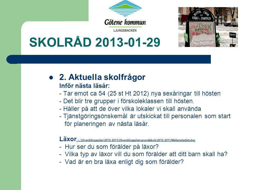 SKOLRÅD 2013-01-29 * Aktuella skolfrågor forts….