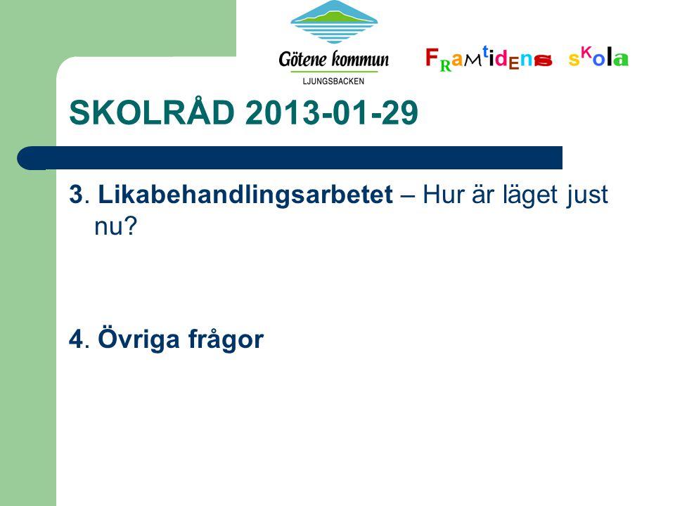 SKOLRÅD 2013-01-29 3. Likabehandlingsarbetet – Hur är läget just nu? 4. Övriga frågor