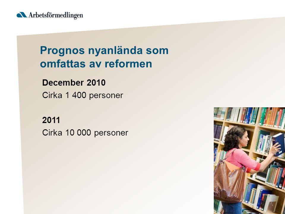 Prognos nyanlända som omfattas av reformen December 2010 Cirka 1 400 personer 2011 Cirka 10 000 personer