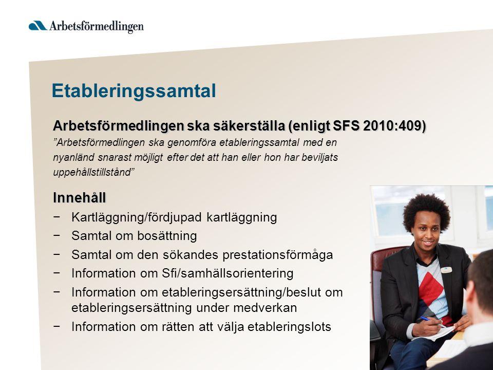 """Etableringssamtal Arbetsförmedlingen ska säkerställa (enligt SFS 2010:409) """"Arbetsförmedlingen ska genomföra etableringssamtal med en nyanländ snarast"""
