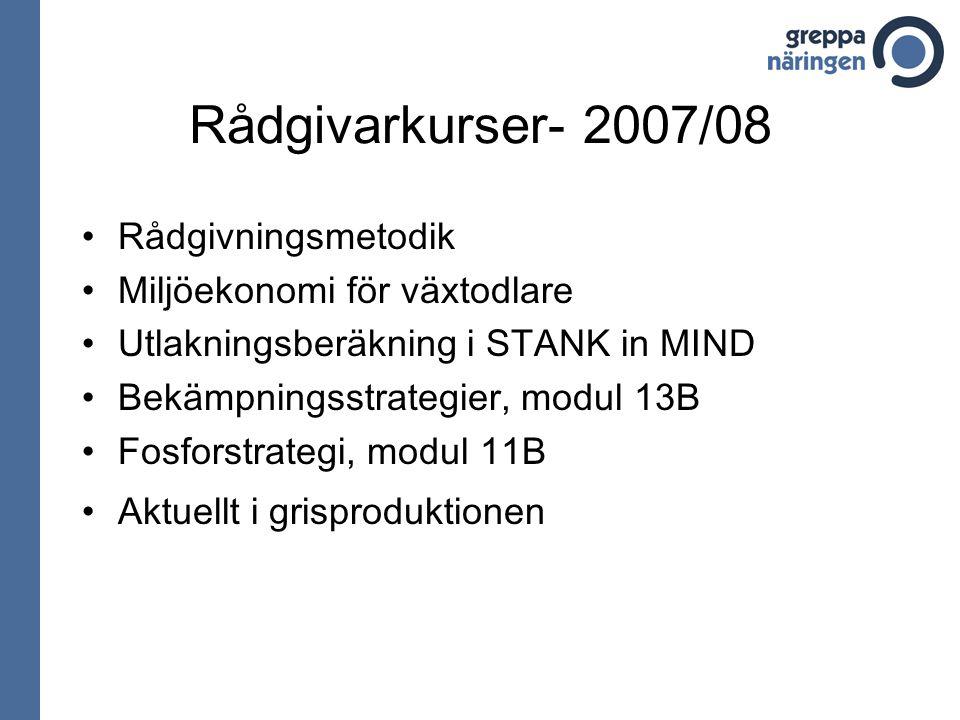 Rådgivarkurser- 2007/08 Rådgivningsmetodik Miljöekonomi för växtodlare Utlakningsberäkning i STANK in MIND Bekämpningsstrategier, modul 13B Fosforstrategi, modul 11B Aktuellt i grisproduktionen