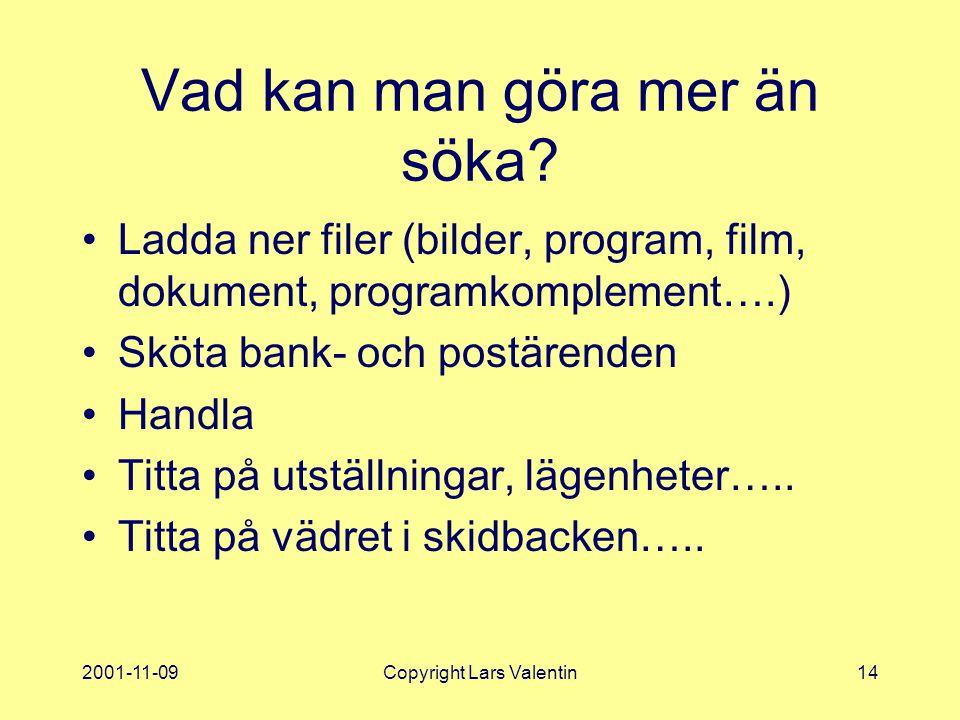 2001-11-09Copyright Lars Valentin14 Vad kan man göra mer än söka.
