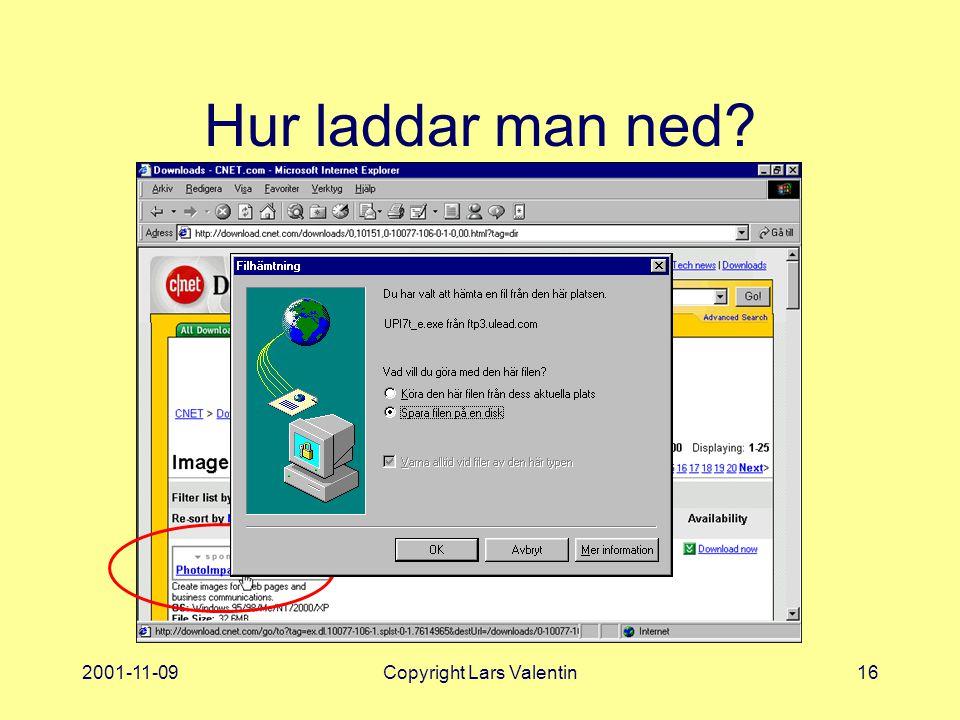 2001-11-09Copyright Lars Valentin16 Hur laddar man ned