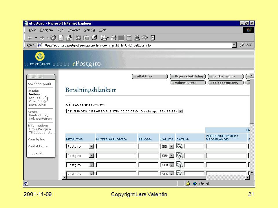 2001-11-09Copyright Lars Valentin21