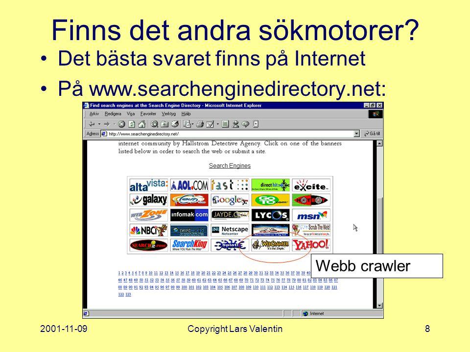 2001-11-09Copyright Lars Valentin8 Finns det andra sökmotorer.