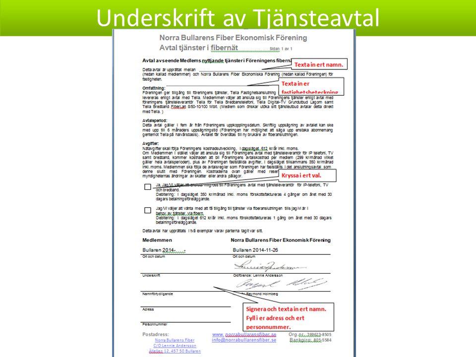 Underskrift av Tjänsteavtal