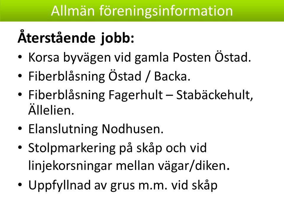 Återstående jobb: Korsa byvägen vid gamla Posten Östad.