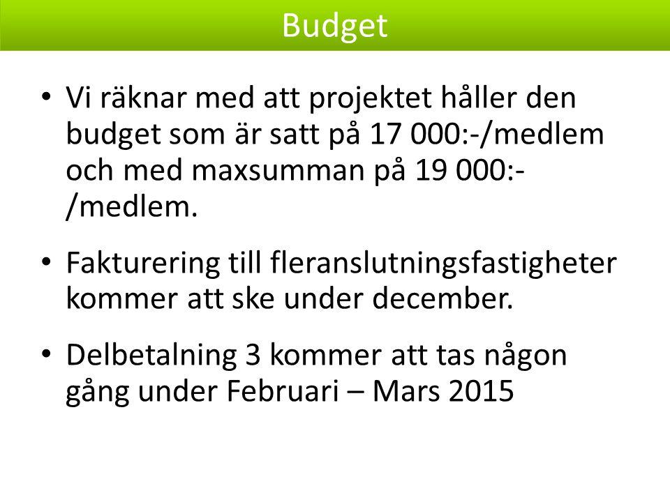 Vi räknar med att projektet håller den budget som är satt på 17 000:-/medlem och med maxsumman på 19 000:- /medlem.