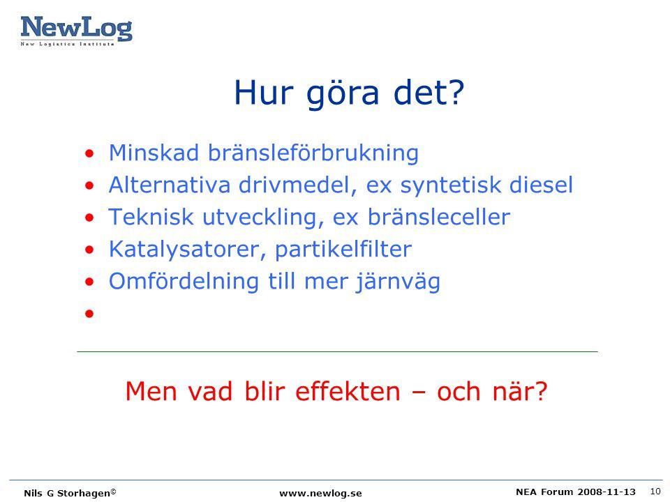 NEA Forum 2008-11-13 Nils G Storhagen © www.newlog.se 10 Hur göra det? Minskad bränsleförbrukning Alternativa drivmedel, ex syntetisk diesel Teknisk u