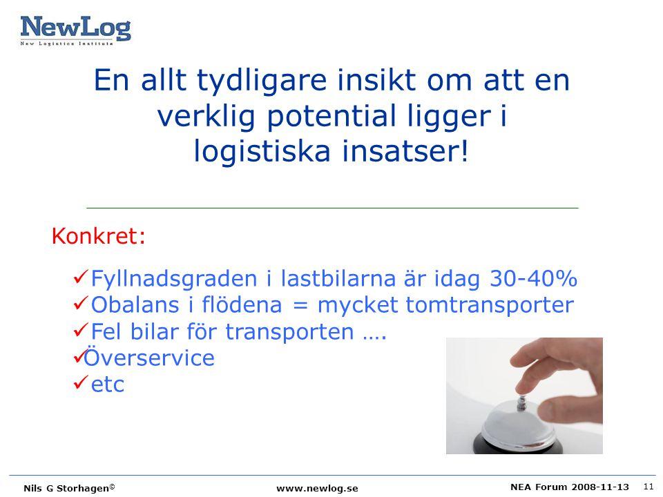 NEA Forum 2008-11-13 Nils G Storhagen © www.newlog.se 11 En allt tydligare insikt om att en verklig potential ligger i logistiska insatser! Konkret: F