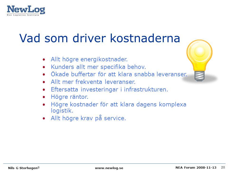 NEA Forum 2008-11-13 Nils G Storhagen © www.newlog.se 20 Vad som driver kostnaderna Allt högre energikostnader. Kunders allt mer specifika behov. Ökad