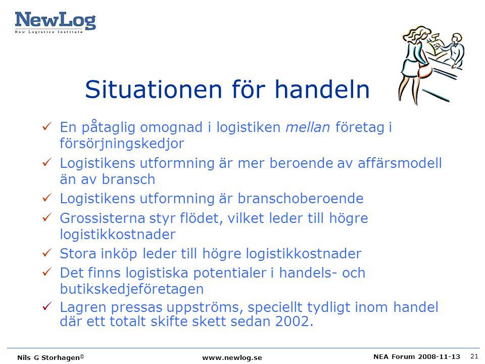 NEA Forum 2008-11-13 Nils G Storhagen © www.newlog.se 21 Situationen för handeln En påtaglig omognad i logistiken mellan företag i försörjningskedjor