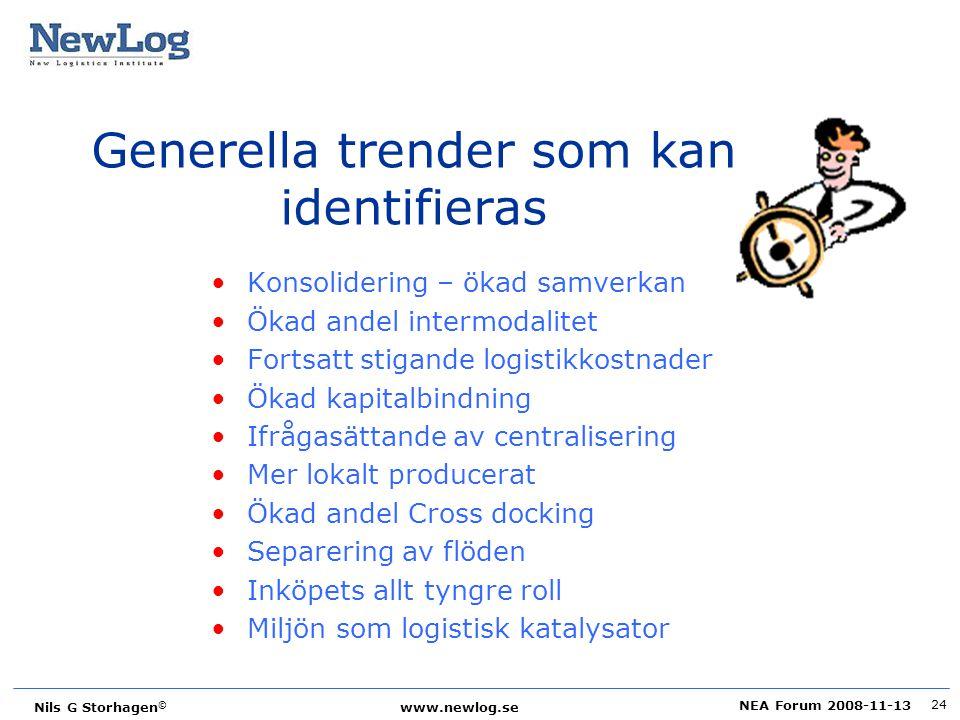 NEA Forum 2008-11-13 Nils G Storhagen © www.newlog.se 24 Generella trender som kan identifieras Konsolidering – ökad samverkan Ökad andel intermodalit