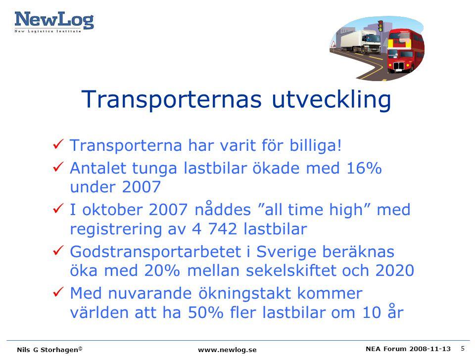 NEA Forum 2008-11-13 Nils G Storhagen © www.newlog.se 5 Transporternas utveckling Transporterna har varit för billiga! Antalet tunga lastbilar ökade m