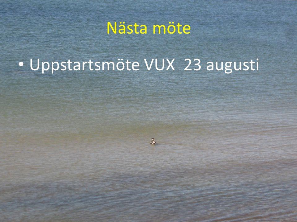 Nästa möte Uppstartsmöte VUX 23 augusti