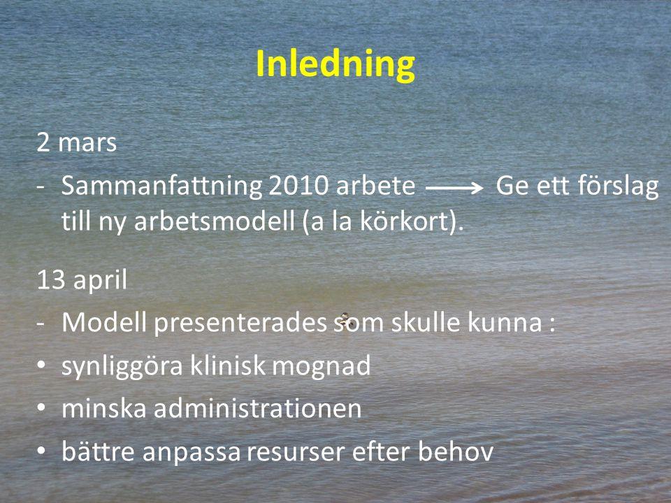 Inledning 2 mars -Sammanfattning 2010 arbete Ge ett förslag till ny arbetsmodell (a la körkort). 13 april -Modell presenterades som skulle kunna : syn