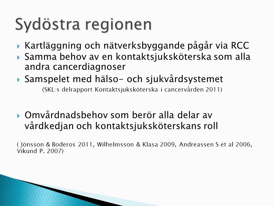  Kartläggning och nätverksbyggande pågår via RCC  Samma behov av en kontaktsjuksköterska som alla andra cancerdiagnoser  Samspelet med hälso- och s