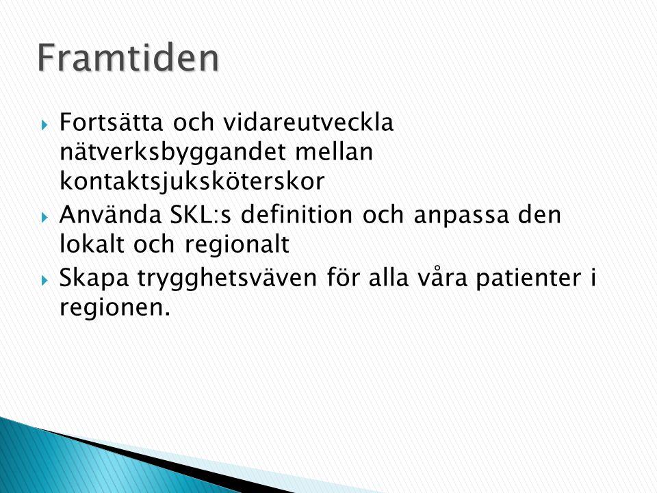  Fortsätta och vidareutveckla nätverksbyggandet mellan kontaktsjuksköterskor  Använda SKL:s definition och anpassa den lokalt och regionalt  Skapa