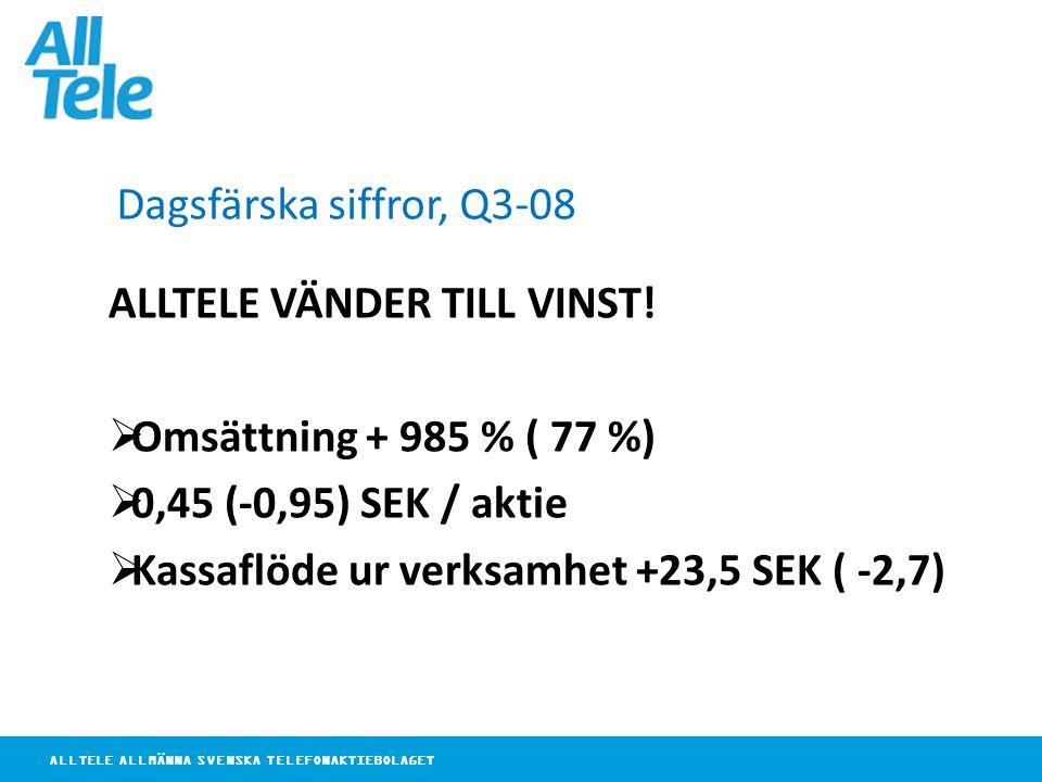 ALLTELE ALLMÄNNA SVENSKA TELEFONAKTIEBOLAGET Dagsfärska siffror, Q3-08 ALLTELE VÄNDER TILL VINST.