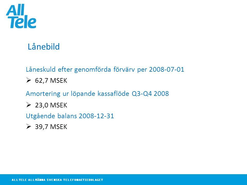 ALLTELE ALLMÄNNA SVENSKA TELEFONAKTIEBOLAGET Lånebild Låneskuld efter genomförda förvärv per 2008-07-01  62,7 MSEK Amortering ur löpande kassaflöde Q3-Q4 2008  23,0 MSEK Utgående balans 2008-12-31  39,7 MSEK