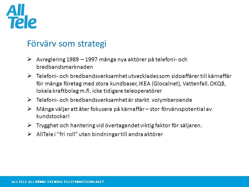 ALLTELE ALLMÄNNA SVENSKA TELEFONAKTIEBOLAGET 7 Förvärv som strategi  Avreglering 1989 – 1997 många nya aktörer på telefoni- och bredbandsmarknaden  Telefoni- och bredbandsverksamhet utvecklades som sidoaffärer till kärnaffär för många företag med stora kundbaser, IKEA (Glocalnet), Vattenfall, OKQ8, lokala kraftbolag m.fl.