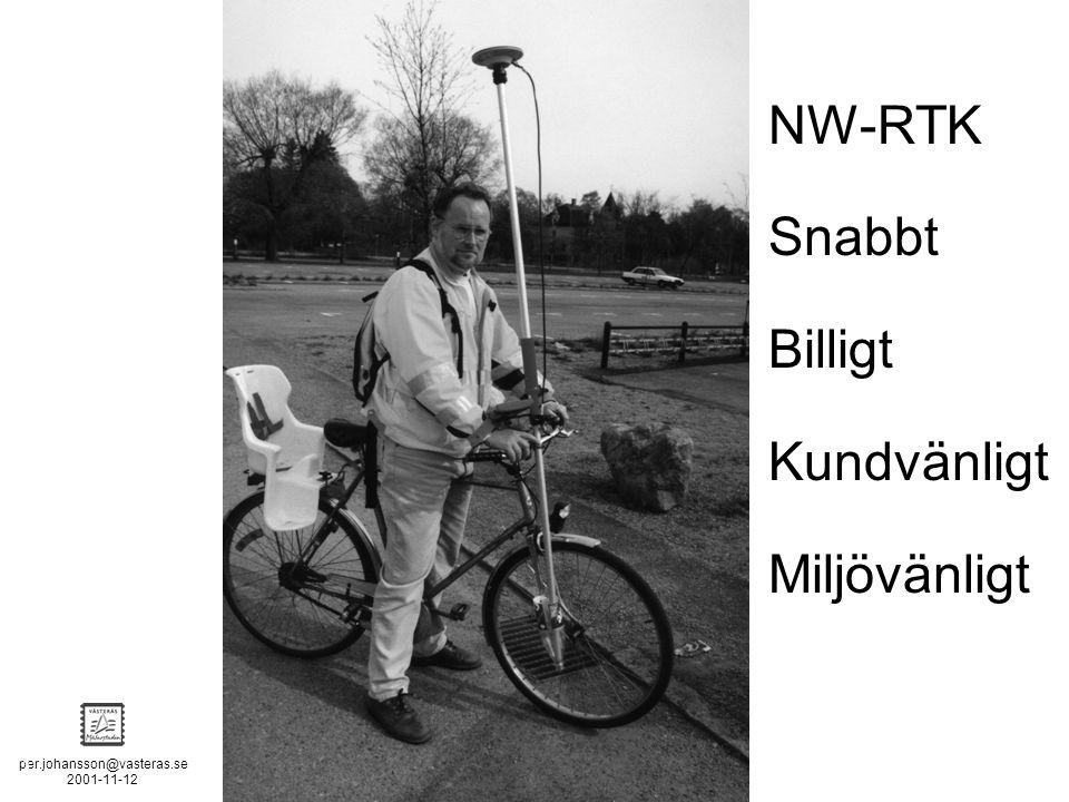 per.johansson@vasteras.se 2001-11-12 POSITION STOCKHOLM - MÄLAREN - 2 NW-RTK Snabbt Billigt Kundvänligt Miljövänligt