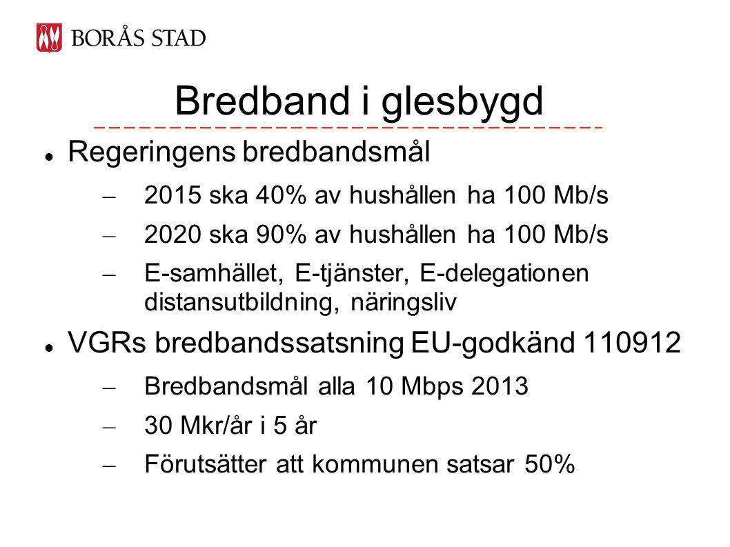 Regeringens bredbandsmål – 2015 ska 40% av hushållen ha 100 Mb/s – 2020 ska 90% av hushållen ha 100 Mb/s – E-samhället, E-tjänster, E-delegationen distansutbildning, näringsliv VGRs bredbandssatsning EU-godkänd 110912 – Bredbandsmål alla 10 Mbps 2013 – 30 Mkr/år i 5 år – Förutsätter att kommunen satsar 50% Bredband i glesbygd