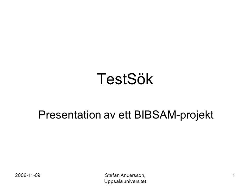 2006-11-09Stefan Andersson, Uppsala universitet 2 Bakgrund Testa hur de rekommendationer för beskrivande metadata som tagits fram inom SVEP kan användas i praktiken genom att skapa en OAI-PMH-baserad testsöktjänst för akademiskt material som byggs upp utifrån SVEP:s format- rekommendationer.