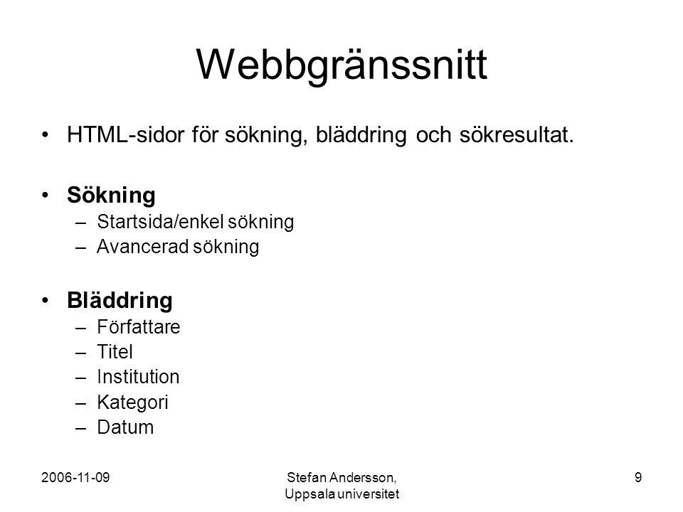 2006-11-09Stefan Andersson, Uppsala universitet 10 Länkar TestSök – webbplats http://svep.epc.ub.uu.se/testbed/ SVEP formatrekommendationer http://epc.ub.uu.se/files/rek1_0.pdf MODS (metadata-format) http://www.loc.gov/standards/mods/ Apache Lucene (Open source software för sökning) http://lucene.apache.org/ OAI-PMH (standard för harvesting av metadata) http://www.openarchives.org/OAI/openarchivesprotocol.html OAIHarvester2 (Open source software för harvesting) http://www.oclc.org/research/software/oai/harvester2.htm