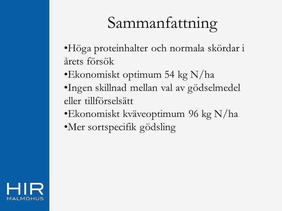 Sammanfattning Höga proteinhalter och normala skördar i årets försök Ekonomiskt optimum 54 kg N/ha Ingen skillnad mellan val av gödselmedel eller till