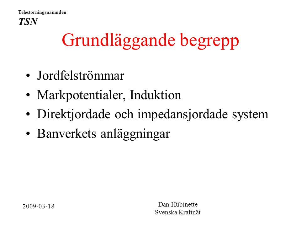 Grundläggande begrepp Jordfelströmmar Markpotentialer, Induktion Direktjordade och impedansjordade system Banverkets anläggningar Telestörningsnämnden TSN Dan Hübinette Svenska Kraftnät 2009-03-18