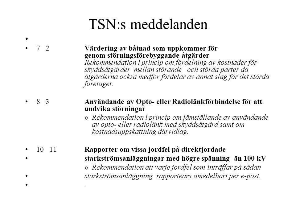 TSN:s meddelanden - 1 7 Information om Telestörningsnämndens verksamhet 2 11 Förteckning över aktuella meddelanden från Telestörningsnämnden 4 2 Skyld