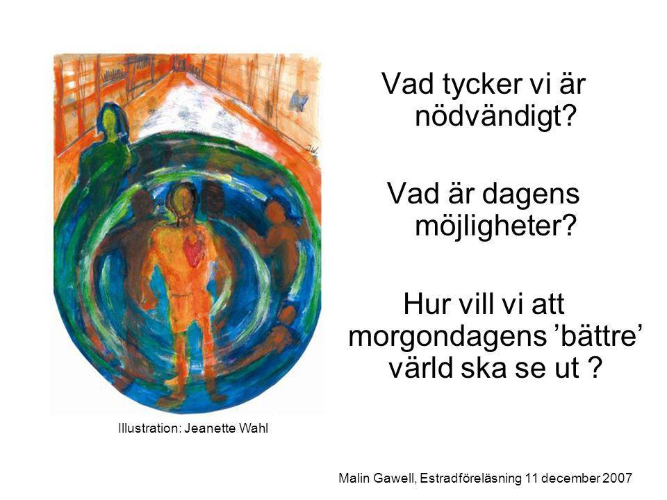 Illustration: Jeanette Wahl Malin Gawell, Estradföreläsning 11 december 2007 Vad tycker vi är nödvändigt.