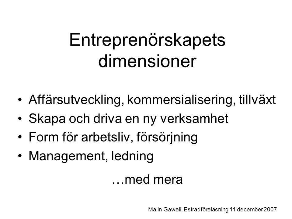 Entreprenörskapets dimensioner Affärsutveckling, kommersialisering, tillväxt Skapa och driva en ny verksamhet Form för arbetsliv, försörjning Management, ledning …med mera Malin Gawell, Estradföreläsning 11 december 2007