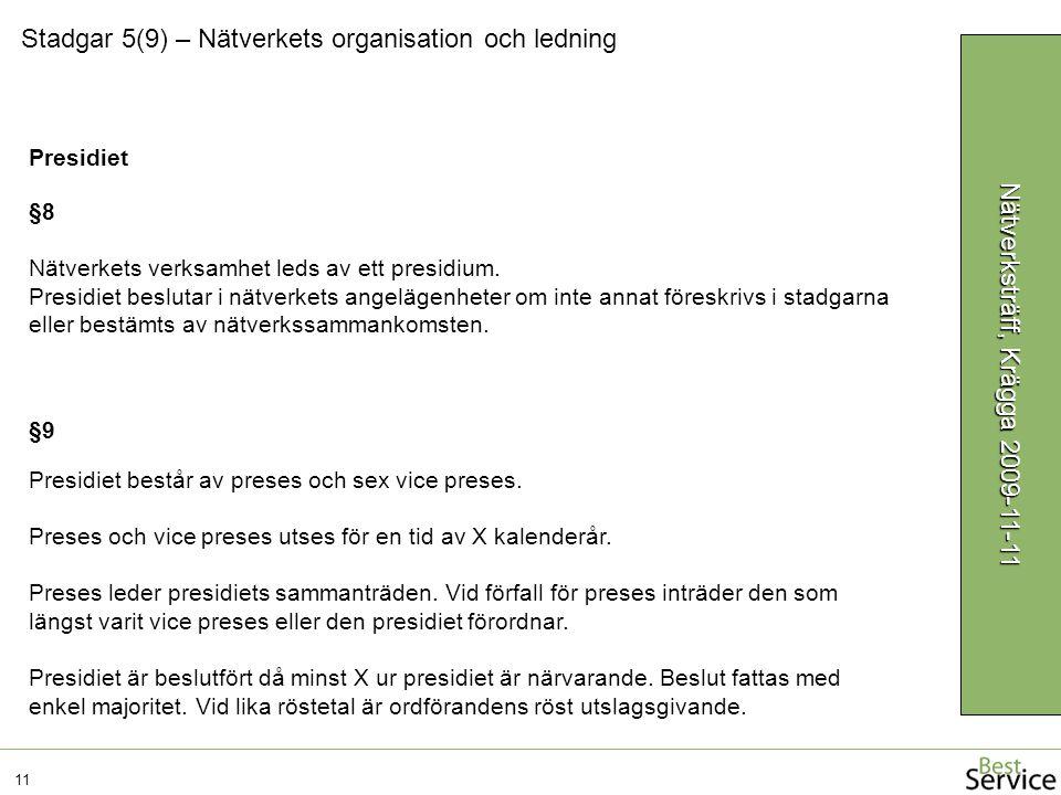 Stadgar 5(9) – Nätverkets organisation och ledning 11 Nätverksträff, Krägga 2009-11-11 §9 Presidiet består av preses och sex vice preses. Preses och v
