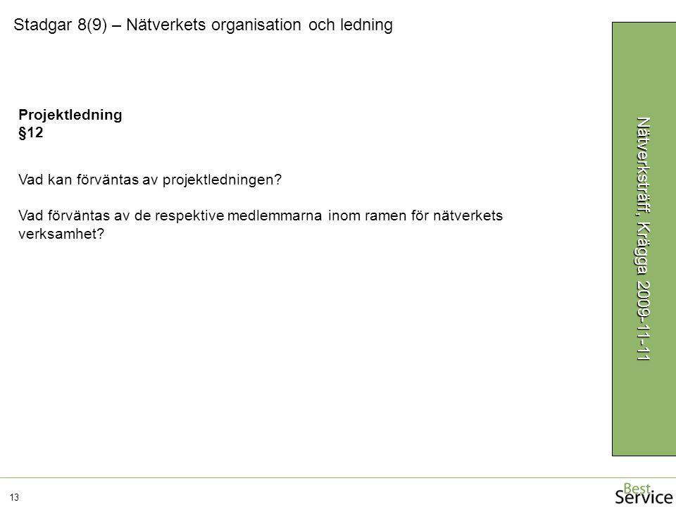 Stadgar 8(9) – Nätverkets organisation och ledning 13 Nätverksträff, Krägga 2009-11-11 Projektledning §12 Vad kan förväntas av projektledningen? Vad f