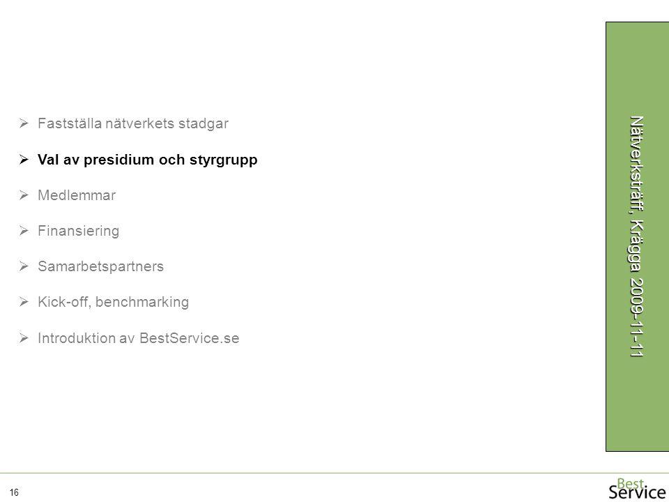 16 Nätverksträff, Krägga 2009-11-11  Fastställa nätverkets stadgar  Val av presidium och styrgrupp  Medlemmar  Finansiering  Samarbetspartners  Kick-off, benchmarking  Introduktion av BestService.se