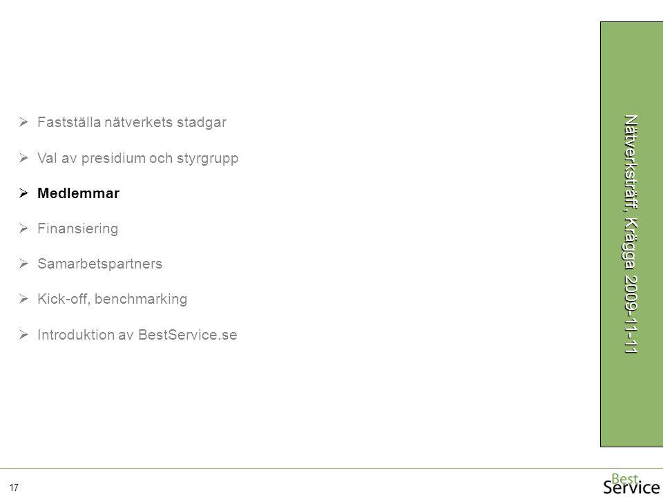17 Nätverksträff, Krägga 2009-11-11  Fastställa nätverkets stadgar  Val av presidium och styrgrupp  Medlemmar  Finansiering  Samarbetspartners  Kick-off, benchmarking  Introduktion av BestService.se