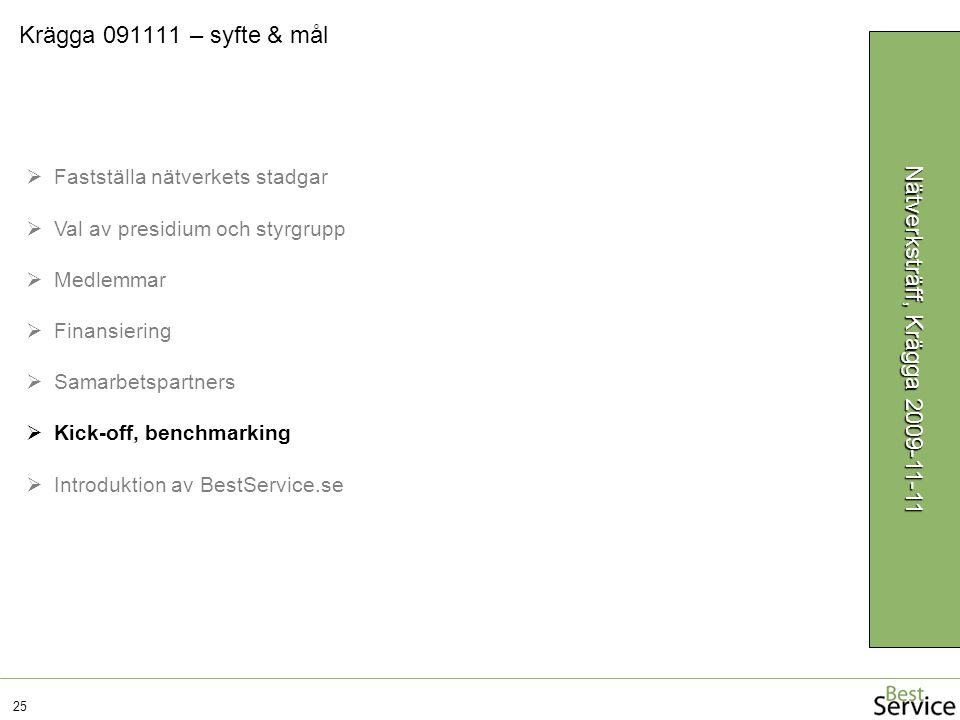 Krägga 091111 – syfte & mål 25 Nätverksträff, Krägga 2009-11-11  Fastställa nätverkets stadgar  Val av presidium och styrgrupp  Medlemmar  Finansiering  Samarbetspartners  Kick-off, benchmarking  Introduktion av BestService.se
