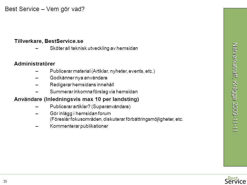 Best Service – Vem gör vad? 35 Nätverksträff, Krägga 2009-11-11 Tillverkare, BestService.se –Sköter all teknisk utveckling av hemsidan Administratörer