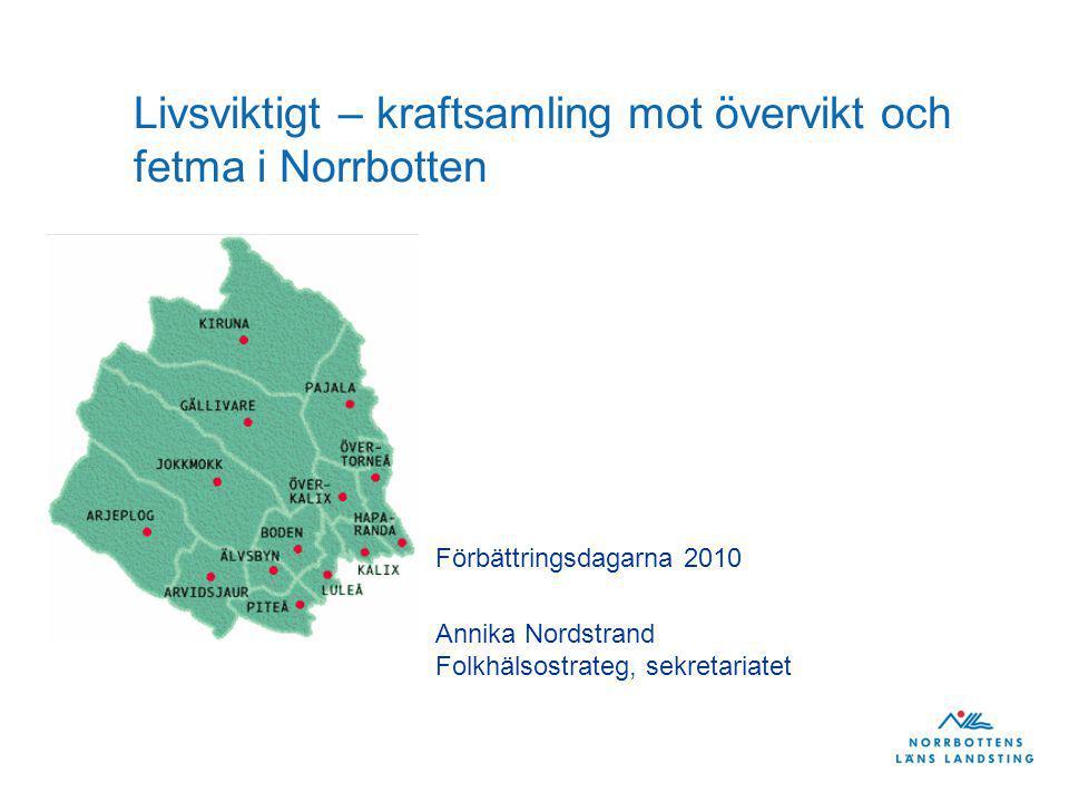 Utgångspunkter för landstingets folkhälsoarbete 1(2) Nationella målet för folkhälsoarbetet - Skapa förutsättningar för en god hälsa på lika villkor för hela befolkningen - Tillhörande elva målområden Landstingsplanen 2011-2013 - Verksamhetsidé: Genom aktiva förebyggande och hälsofrämjande insatser ska landstinget verka för en jämställd och jämlik hälsa hos norrbottningarna.
