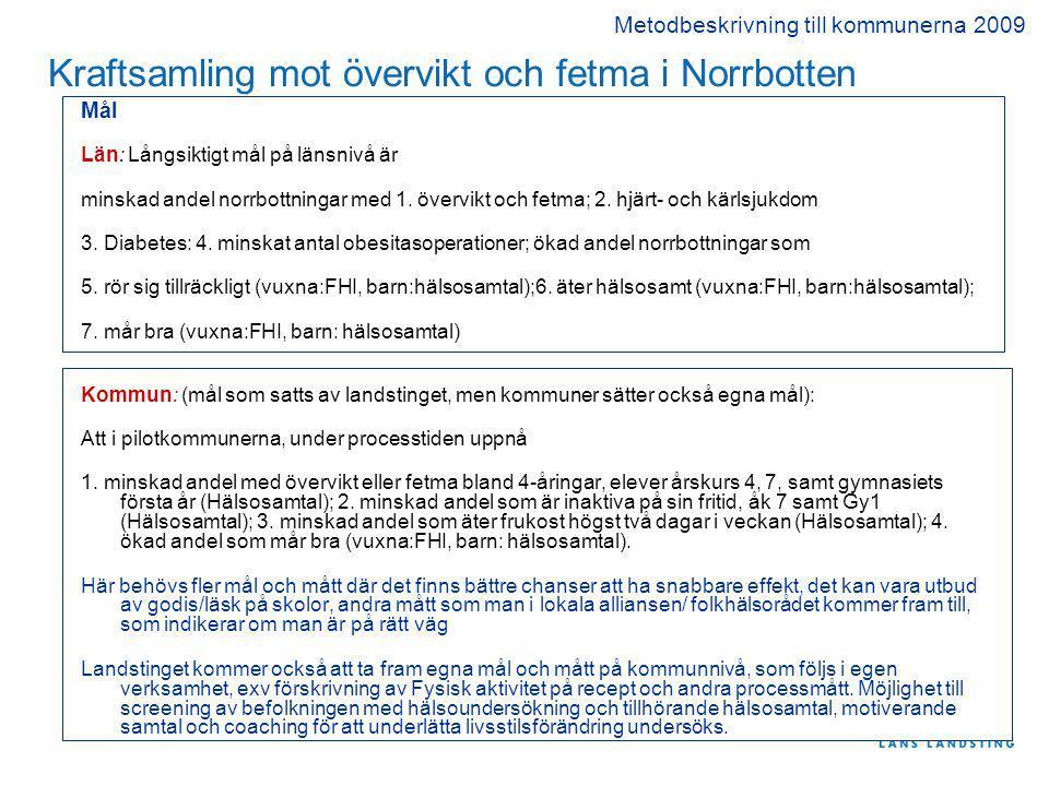 Kraftsamling mot övervikt och fetma i Norrbotten Mål Län: Långsiktigt mål på länsnivå är minskad andel norrbottningar med 1.