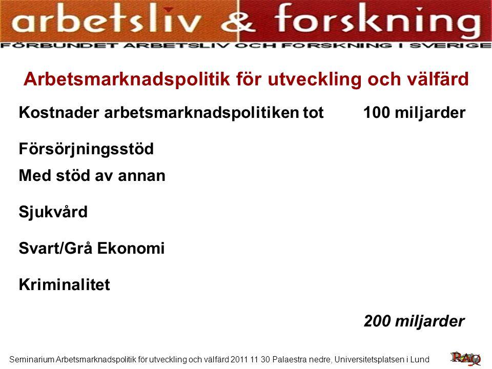 Seminarium Arbetsmarknadspolitik för utveckling och välfärd 2011 11 30 Palaestra nedre, Universitetsplatsen i Lund Om vi skulle anställa alla som t.ex.