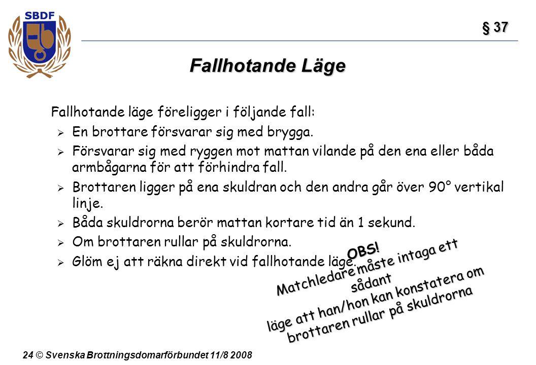 24 © Svenska Brottningsdomarförbundet 11/8 2008 Fallhotande Läge Fallhotande läge föreligger i följande fall:  En brottare försvarar sig med brygga.