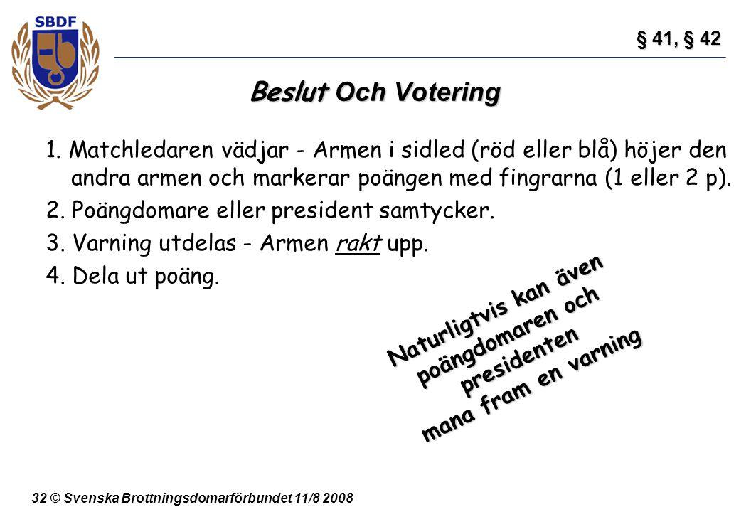 32 © Svenska Brottningsdomarförbundet 11/8 2008 Beslut Och Votering 1. Matchledaren vädjar - Armen i sidled (röd eller blå) höjer den andra armen och