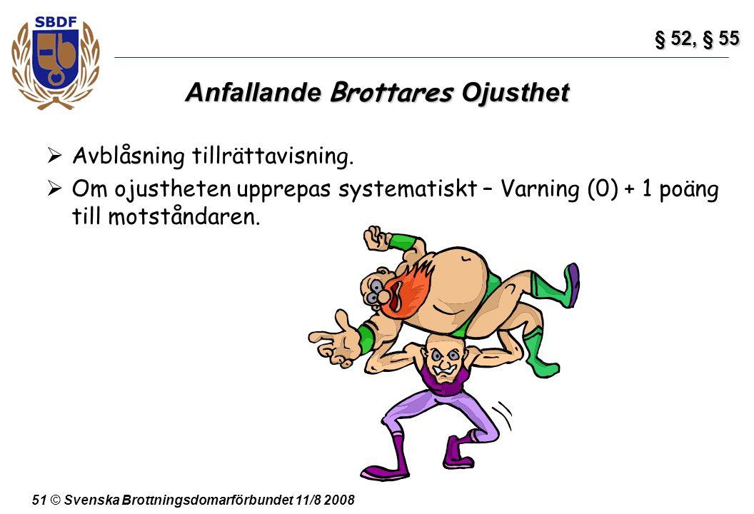 51 © Svenska Brottningsdomarförbundet 11/8 2008 Anfallande Brottares Ojusthet  Avblåsning tillrättavisning.  Om ojustheten upprepas systematiskt – V