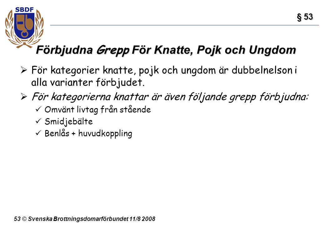 53 © Svenska Brottningsdomarförbundet 11/8 2008 Förbjudna Grepp För Knatte, Pojk och Ungdom  För kategorier knatte, pojk och ungdom är dubbelnelson i