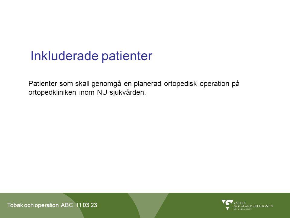 Tobak och operation ABC 11 03 23 Inkluderade patienter Patienter som skall genomgå en planerad ortopedisk operation på ortopedkliniken inom NU-sjukvården.