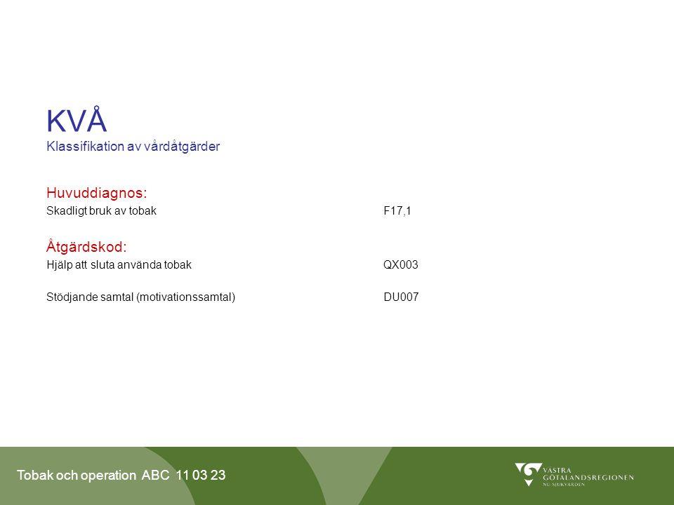 Tobak och operation ABC 11 03 23 KVÅ Klassifikation av vårdåtgärder Huvuddiagnos: Skadligt bruk av tobakF17,1 Åtgärdskod: Hjälp att sluta använda tobakQX003 Stödjande samtal (motivationssamtal) DU007